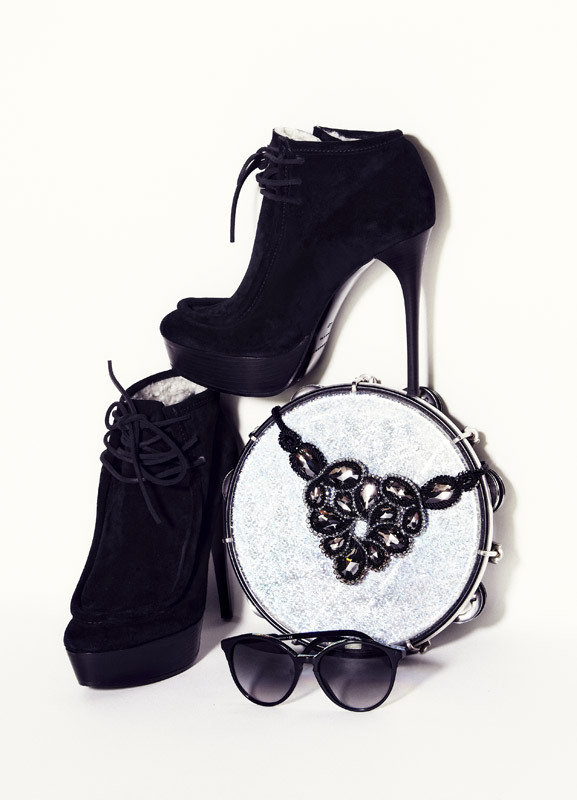 BURBERRY PRORSUM boots, $1275; STELLA MCCARTNEY sunglasses 